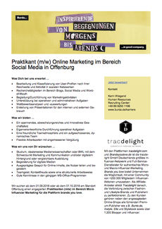 Praktikant online marketing im bereich social media in offenburg